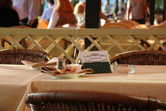 Reserved Table at Restaurant. Fancy table that has been reserved at a restaurant Stock Image