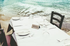 Reserved. Table by the sea royalty free stock images