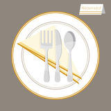 Reserved Table Setting. An image of a reserved table setting vector illustration