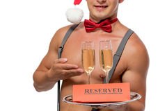 Reserved two glasses of champagne on a tray Stock Images