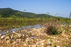 Reserved water at Hui Lan irrigation dam Stock Photo