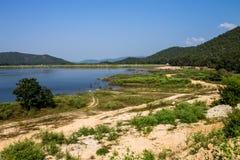 Reserved water at Hui Lan irrigation dam Royalty Free Stock Photos