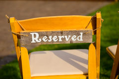 Reserved Wedding Seating Royalty Free Stock Image