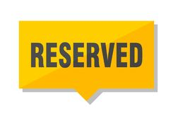 Reserved price tag. Reserved yellow square price tag royalty free illustration