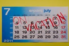 reserverad semester för kalender juli Arkivfoto