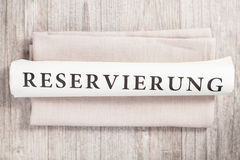 Reservierung (用德语) 免版税库存照片