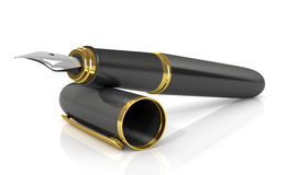 Reservoarpenna i svart med guld Arkivbild