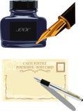 Reservoarpenna och flaska av färgpulver Royaltyfri Foto