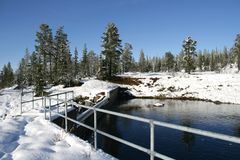 Reservoir. Small water reservoir in a Norwegian landscape Royalty Free Stock Photo