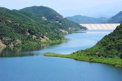 Reservoir. The landscape of a blue reservoir Stock Image