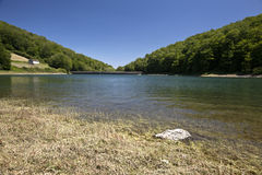 Reservoir. View of a reservoir surrounded by forests in a shiny summer day Stock Photography