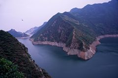 Reservoir. Scenic view of the heihe reservoir from a lookout point. shanxi, china Royalty Free Stock Images