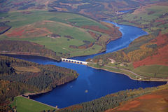 Reservoir aerial. An Autumn (fall ) shot of  Ladybower Reservoir, Derbyshire Royalty Free Stock Images
