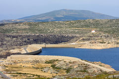Reservoir along N339 in Portuguese highmountains Royalty Free Stock Photos