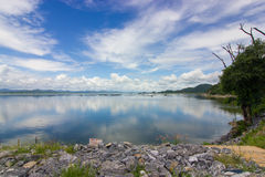 Reservoir Background. River and mountain backside of Krasiew dam, Supanburi, Thailand Royalty Free Stock Images