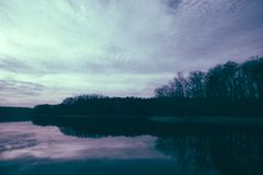 Reservoir Bed. Beautiful reservoir bed during sunset Royalty Free Stock Photography