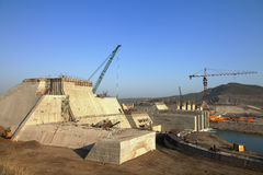 A  reservoir being built. A reservoir is being built in northeast china Royalty Free Stock Images