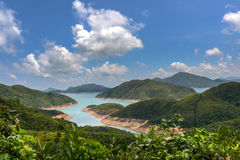 Reservoir with blue sky background in Sai Kung Stock Image