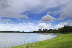 Reservoir with buildings Royalty Free Stock Photos