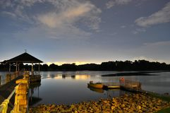 A Reservoir with calm water by night Royalty Free Stock Photography