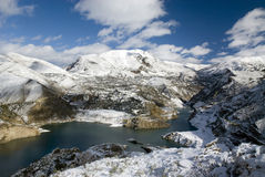 Reservoir covered with snow Royalty Free Stock Images