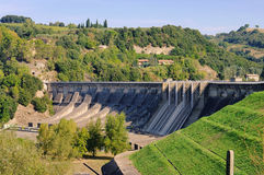 Reservoir dam. Modern reservoir dam for renewable energy Stock Photography