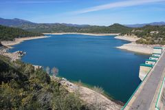 The reservoir and dam of Darnius Boadella Spain Royalty Free Stock Photography