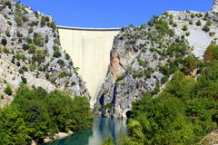 Reservoir dam and river Stock Photo