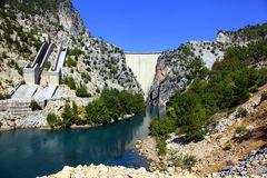 Reservoir dam and river Royalty Free Stock Images