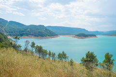 Reservoir dammed in a vally Stock Images