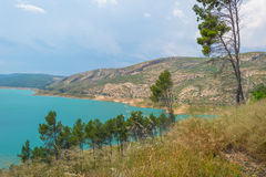 Reservoir dammed in a vally Royalty Free Stock Photos