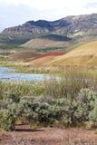 Reservoir in desert area. Stock Images