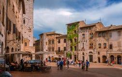Reservoir di della piazza a San Gimignano immagine stock