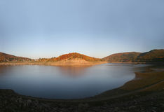Reservoir Edersee in Germany. During sunset with extreme low water level in October 2008 stock images