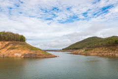 Reservoir and forests. In the morning Stock Photography