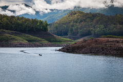 Reservoir and forests. In the morning Stock Photos