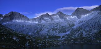 Reservoir in glacial valley after sunset Royalty Free Stock Image