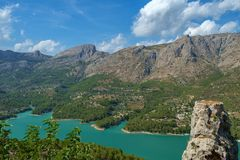 Guadalest Reservoir, seen from the old town of Guadalest, Spain. Royalty Free Stock Photography