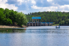 The reservoir and hydraulic power plant Dalesice in the Czech republic Royalty Free Stock Images