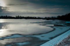 Reservoir in ice and snow Royalty Free Stock Images