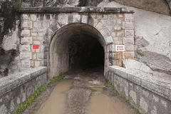 Reservoir Jandula, tunnel excavated in the mountain of granite and slate in the reservoir of Jandula Stock Image