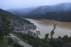 Reservoir of the Jándula in winter at full capacity after heavy Stock Photos