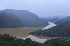 Reservoir of the Jándula in winter at full capacity after heavy Royalty Free Stock Photography