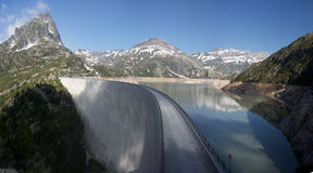 Reservoir Lac d'Emosson, border of Switzerland and France, the Alps,. Summer 2013 Royalty Free Stock Photo