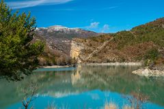 Reservoir Lac de Sainte-Croix上普罗旺斯阿尔卑斯省 库存照片