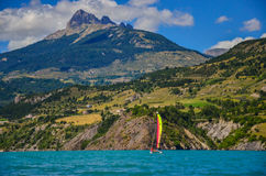 Reservoir Lac de Serre-Ponson on the south-eastern France in the Durance River. Provence, the Alps. Royalty Free Stock Image