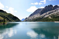 Reservoir Lago Di Fedaia In The Italian Dolomites Royalty Free Stock Images