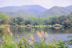 Reservoir and mountain. Huay jo reservoir Lampang Thailand. A small reservoir among the mountain. Tourist can ride or walk to this place to see view of Lampang Stock Photo