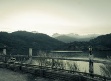 Reservoir with mountain view Royalty Free Stock Photography