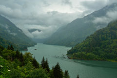 Reservoir in the mountains on a cloudy day Stock Photography